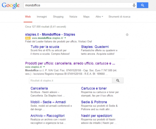 Staples e1409510956615 Due possibili grattacapi col nuovo Site Search Box di Google